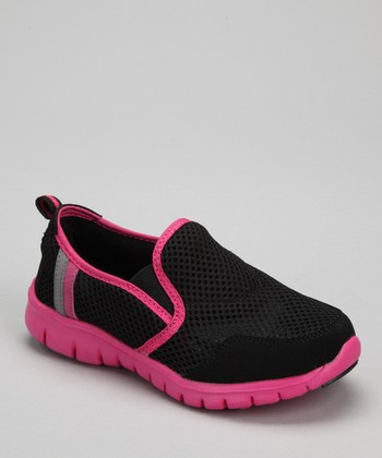 Black & Hot Pink Splashers Slip-On Shoe