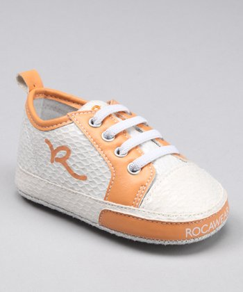 White & Orange Snakeskin Sneaker
