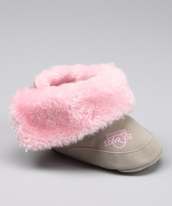 Beige & Pink Faux Fur Booties