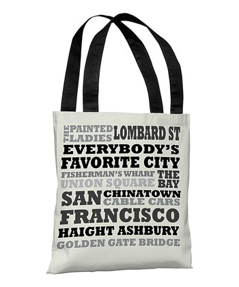 Ivory & Gray 'San Francisco' Subway Style Tote Bag