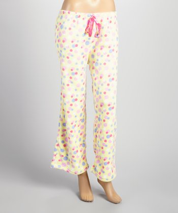 Yellow & Pink Polka Dot Plush Pajama Pants - Women & Plus