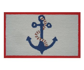 Red & Ivory Anchor Rug