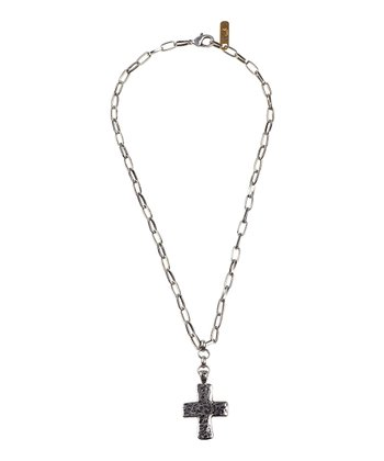 Burnished Silver Cross Necklace