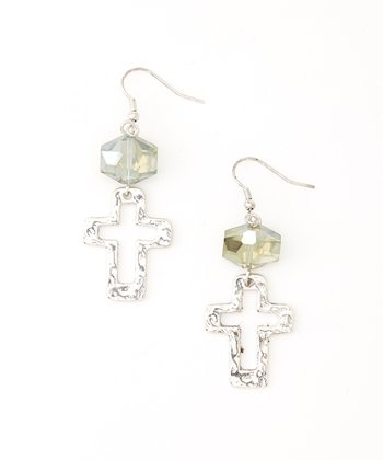 Antique Silver Cross Cutout Earrings