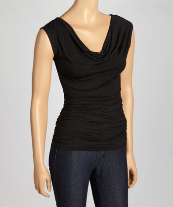 Black Ruched Cowl Neck Sleeveless Top