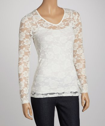 White Sheer Rose Lace V-Neck Top