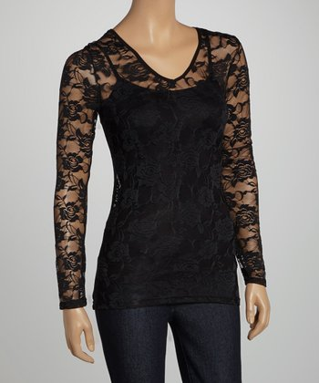Black Sheer Lace V-Neck Top