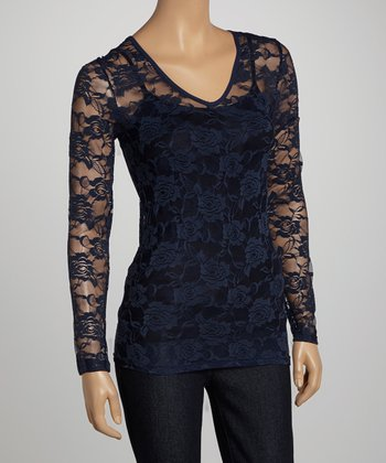 Navy Sheer Lace V-Neck Top