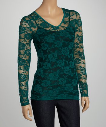 Deep Spruce Sheer Lace V-Neck Top