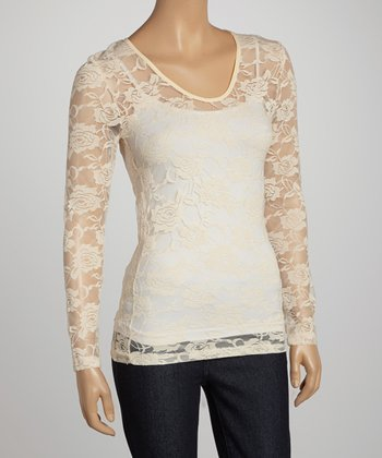 Taupe Feathers Sheer Lace V-Neck Top