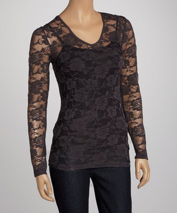 Gray Tin Sheer Lace V-Neck Top