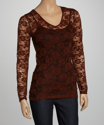 Brown Tail Sheer Floral Lace V-Neck Top