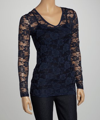 Navy Sheer Floral Lace V-Neck Top