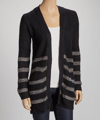 Black Stripe Pocket Open Cardigan