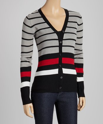 Gray & Black Stripe V-Neck Cardigan