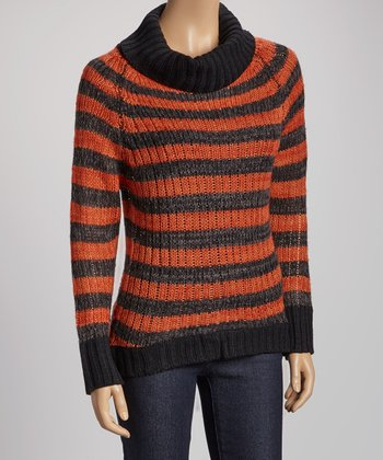 Brick & Gray Stripe Turtleneck Sweater