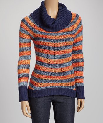 Orange & Gray Stripe Turtleneck Sweater