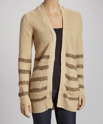 Khaki Stripe Pocket Open Cardigan