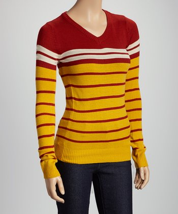 Mustard & Red Stripe V-Neck Sweater