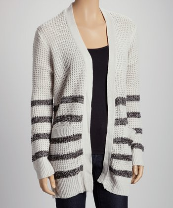 Gray Stripe Pocket Open Cardigan