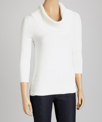 Ivory Three-Quarter Sleeve Turtleneck