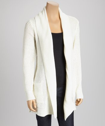 Ivory Pocket Open Cardigan