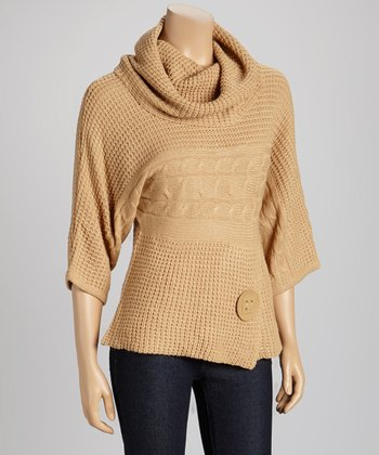 Camel Cowl Neck Button Sweater
