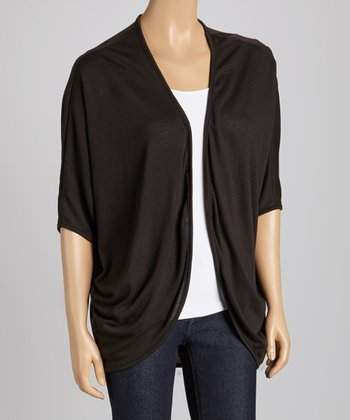 Black Short-Sleeve Open Cardigan