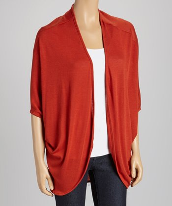 Brick Short-Sleeve Open Cardigan