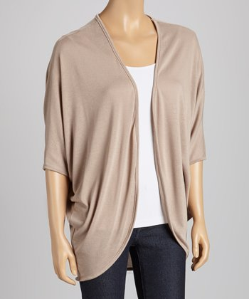 Khaki Short-Sleeve Open Cardigan