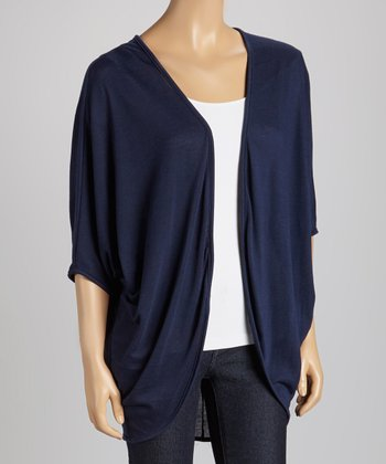 Navy Short-Sleeve Open Cardigan