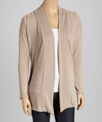 Khaki Elbow Patch Open Cardigan