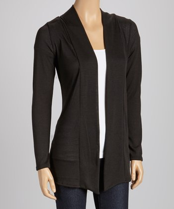 Black Elbow Patch Open Cardigan