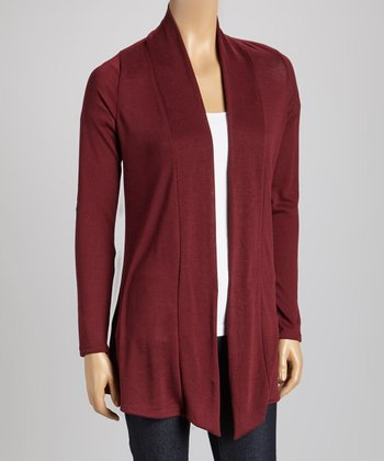 Burgundy Elbow Patch Open Cardigan