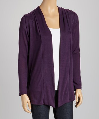 Purple Elbow Patch Open Cardigan