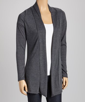 Charcoal Elbow Patch Open Cardigan