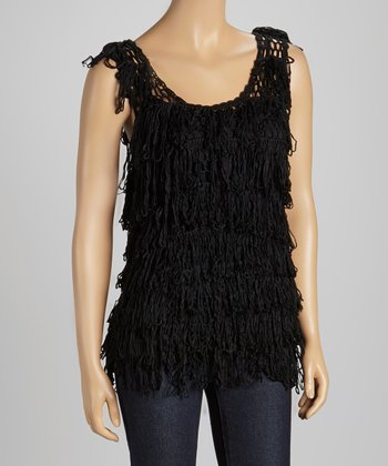 Black Fringe Sleeveless Top