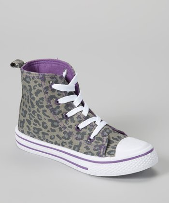 Gray & White Leopard Hi-Top Sneaker