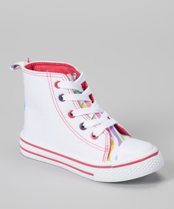 White & Rainbow Zebra Hi-Top Sneaker