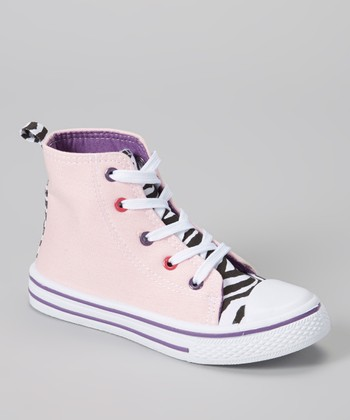 Light Pink & Black Zebra Hi-Top Sneaker