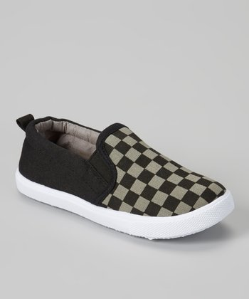 Black & Gray Checkerboard Slip-On Sneaker