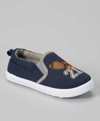 Navy & Orange Football Slip-On Sneaker