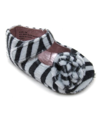 Zebra Rosette Faux Fur Mary Jane