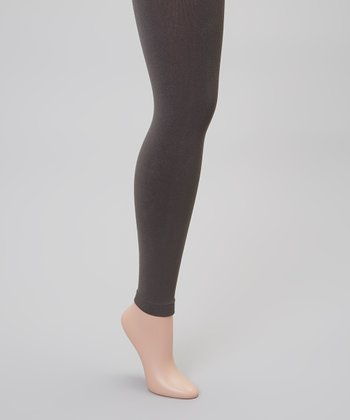Gray Fleece-Lined Footless Tights