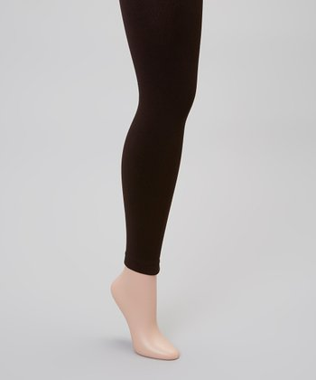 Brown Fleece-Lined Footless Tights