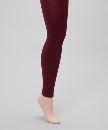 Burgundy Fleece-Lined Footless Tights