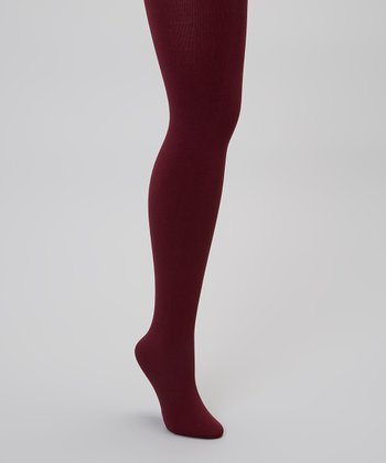 Burgundy Fleece-Lined Tights