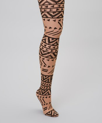 Black & Nude Tribal Tights