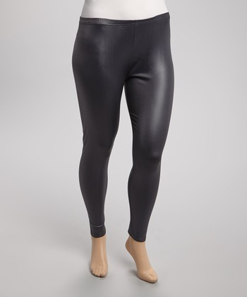 Charcoal Faux Leather Leggings - Plus