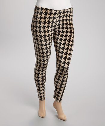 Black & Ivory Houndstooth Velvet Leggings - Plus